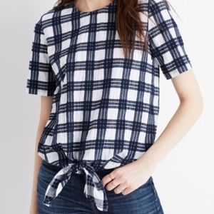 Madewell Checked Knotted Back Button Top